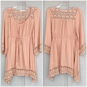 ❤️ Blu Pepper Boho Peasant Crochet Lace Dress